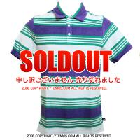 セール品 Wimbledon(ウィンブルドン) オフィシャル商品 ストライプポロシャツ パイルデザイン パープル/グリーン/ホワイト 全英オープンテニス