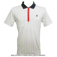 セール品 フィラ(Fila) チームコア コットンストライプ ポロシャツ ホワイト/ピーコートネイビー