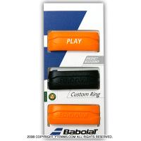 【グリップのかんたん仕上げに】バボラ(Babolat) カスタムリング 3パック オレンジ/ブラック グリップバンド