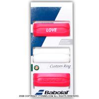 【グリップのかんたん仕上げに】バボラ(Babolat) カスタムリング 3パック ローズ/ホワイト グリップバンド