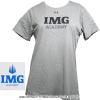 セール品 アンダーアーマー(UNDER ARMOUR)×IMG(ニック・ボロテリー テニスアカデミー) Become Moreレディース Tシャツ ヒートギア グレー/ブラック