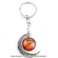 スポーツシリーズ:月とバスケットボール キーホルダー