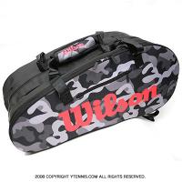 ウイルソン(Wilson) スーパーツアーカモ テニスバッグ 12本用 ラケットバッグ ブラック/グレー