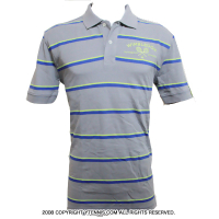 Wimbledon(ウィンブルドン) オフィシャル商品 コットン ストライプポロシャツ ミディアムグレー 全英オープンテニス