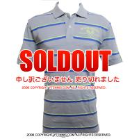 セール品 Wimbledon(ウィンブルドン) オフィシャル商品 コットン ストライプポロシャツ ミディアムグレー 全英オープンテニス