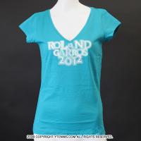 セール品 フレンチオープンテニス ローランギャロス オフィシャル レディース VネックTシャツ ラグーン