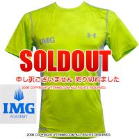 アンダーアーマー(UNDER ARMOUR)×IMG(ニック・ボロテリー テニスアカデミー) Sonic Fitted メンズ Tシャツ ヒートギア グリーン