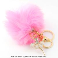 スポーツシリーズ:バレエ・バレリーナ ボンボンキーホルダー ピンク